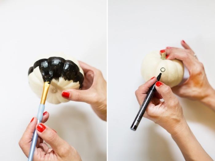 kürbis malen, schwarze farbe, roter nagellack, diy deko tutorial, herbstdeko basteln