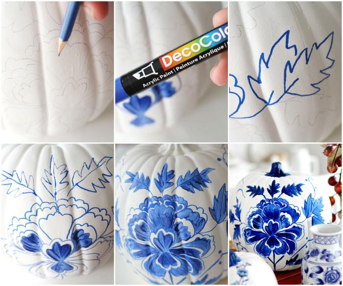 kürbis malen, florale motive mit bleistift zeichnen, blumen blau färben, tischdeko