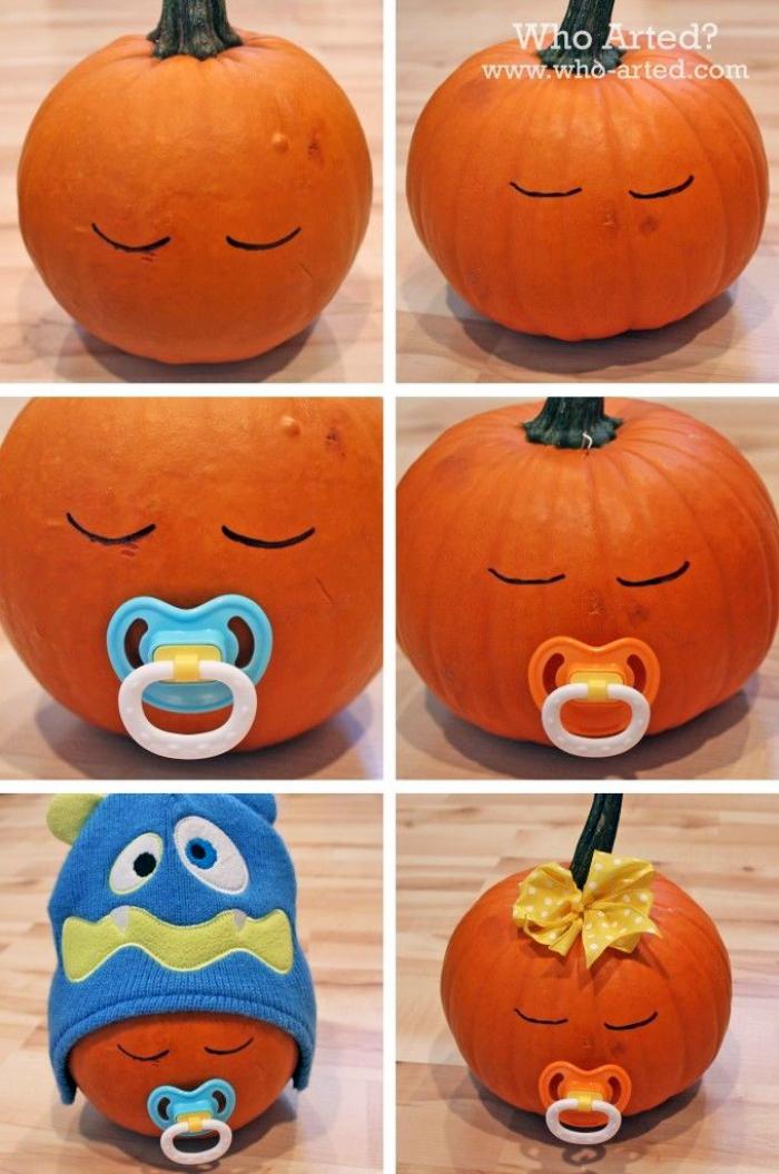 halloween deko ideen, baby mit schnuller und mütze, kürbis schnitzen ideen, dekoeiren