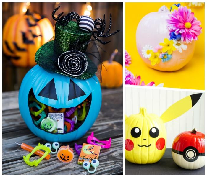 kürbis schnitzen ideen, süßigkeiten zu halloween, picachu, deko selber machen