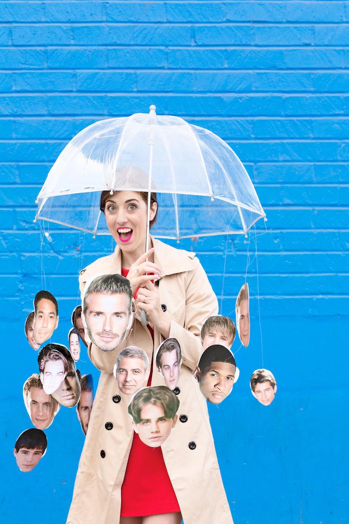 Halloween Kostüm Raining Men, Bilder von populären Männern mit Faden am Regenschirm befesigen