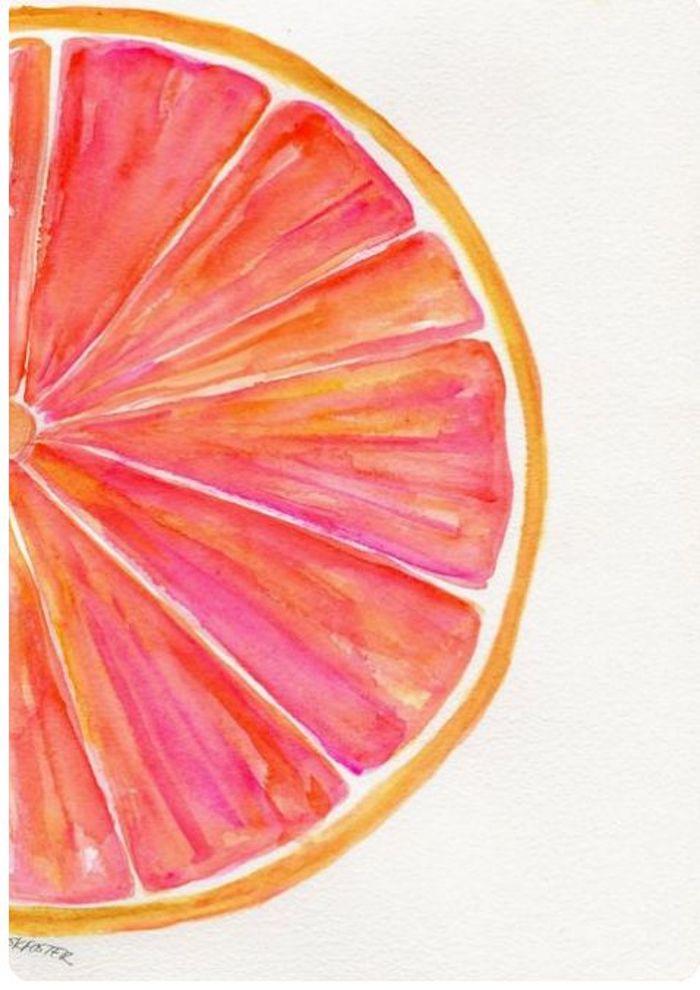 Eine Scheibe Grapefruit zeichnen, leichte Zeichnungen für Anfänger, mit Aquarellfarben zeichnen lernen