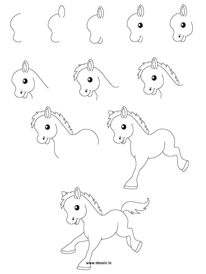Wie zeichnet man ein Pony, Anleitung in zehn Schritten für Kinder, leichte Zeichnungen