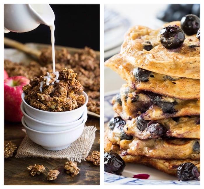 rezepte mit quinoa zubereiten zum frühstück, crepes mit schoko chips und blaubeeren, müsli