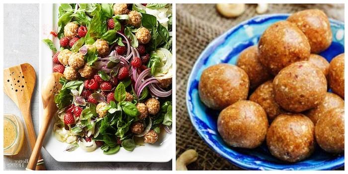 quinoa zubereiten, spinat ruccola, basilikum, kleine süßigkeiten kleine quinoa bissen