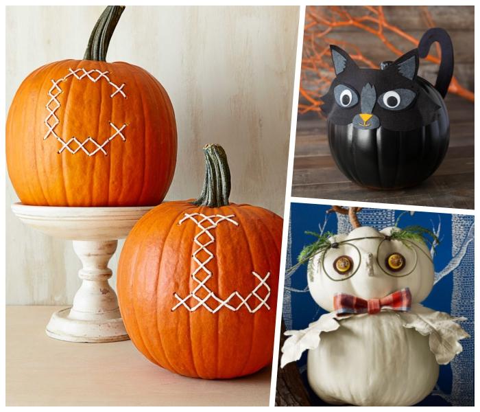 lustige kürbisse, halloween ideen, schwarze katze, weiße eule, basteln mit kindern