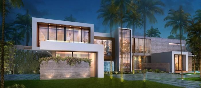 stadtvilla mit garage ideen, haus design ideen, exotische hausgestaltung, palmen im garten, gute beleuchtung am boden