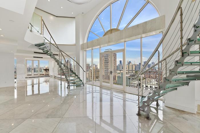 eine idee in weiß für modernes luxus haus, treppe gestaltung ideen,, fenster dekorationen