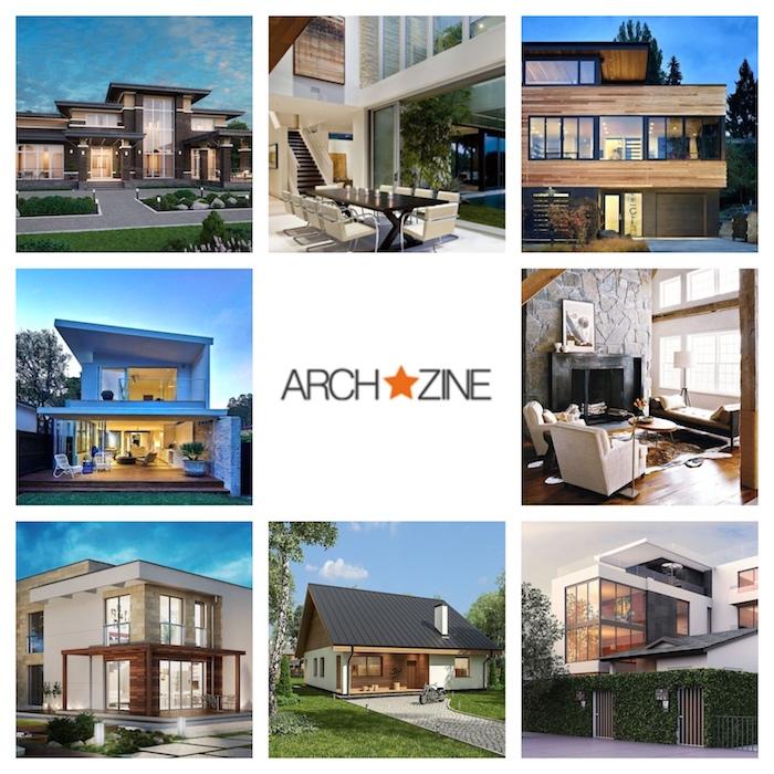 moderne einfamilienhäuser, collage aus neun bildern, acht schöne stadtvilla ideen, das logo von archzine