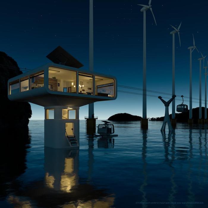 bauplan haus, kreative idee, futuristisches design, zukunft der häuser auf der erde