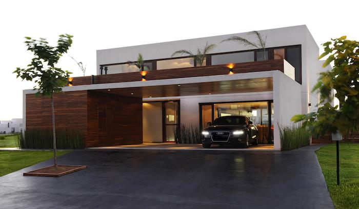 stadtvilla mit garage, ein modernes haus in der stadt, stadtrand häuser gestaltung, luxusauto in der garage