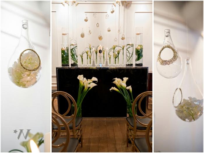 Ideen für Hochzeit mit wiederverwertete Materialien und Blumen, Glühbirne und Blumen