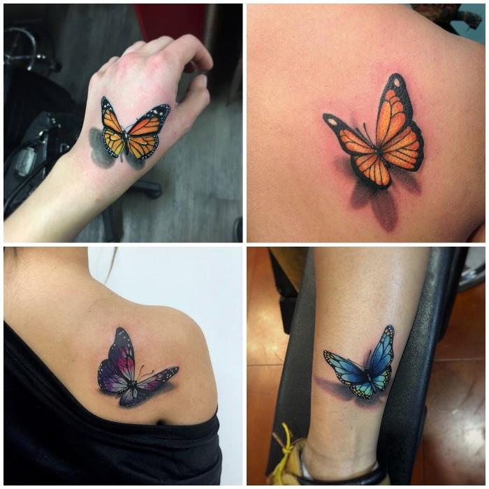 orangenfarbener schmetterling tattoo 3d am handgelank, tätowierung am rücken, frauen