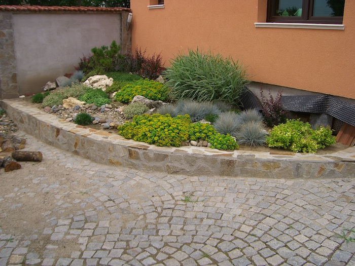 kleiner steingarten mit grauen und wei0en steinen und grünen kleinen sukkulenten mit grünen und roten blättern