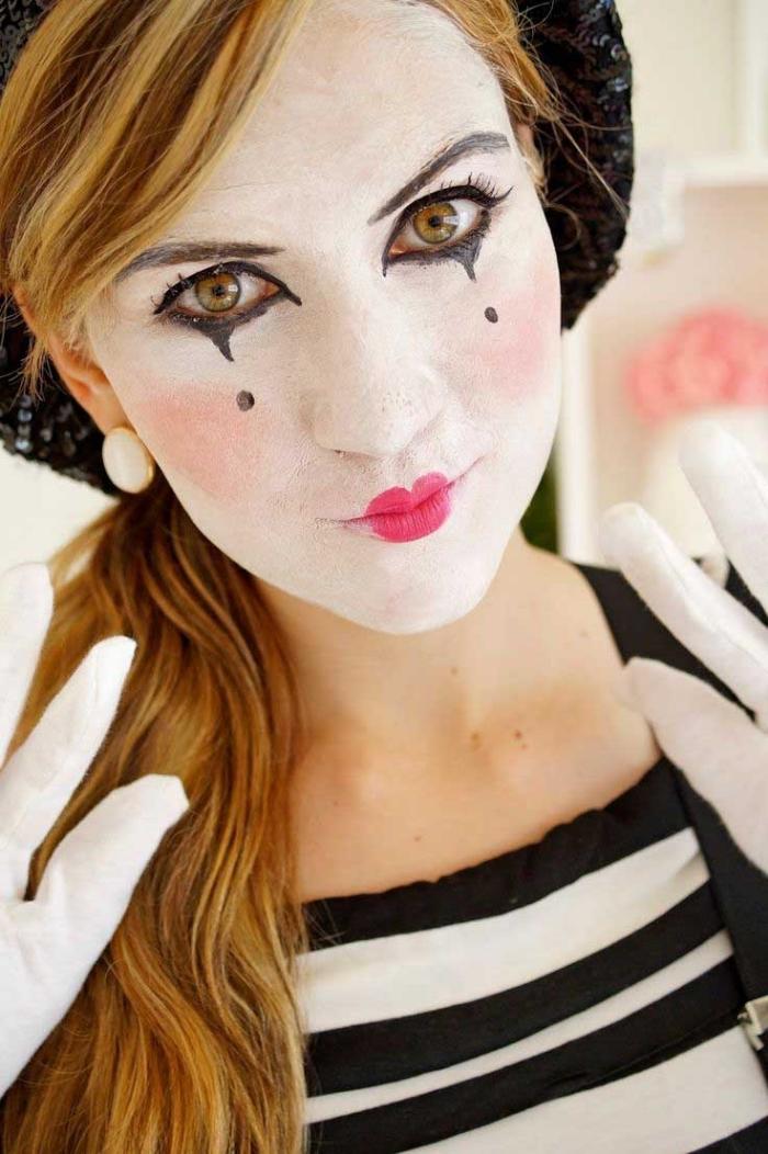mime make up machen, weißes gesicht, tränen, pantomime schminken, weiße handschuhe