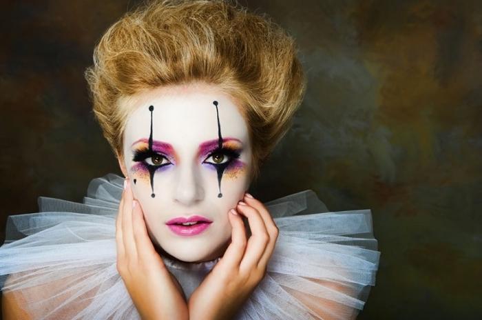 pantomime schminken, lidschatten in lila und orange, mime make up, die königin der herzen