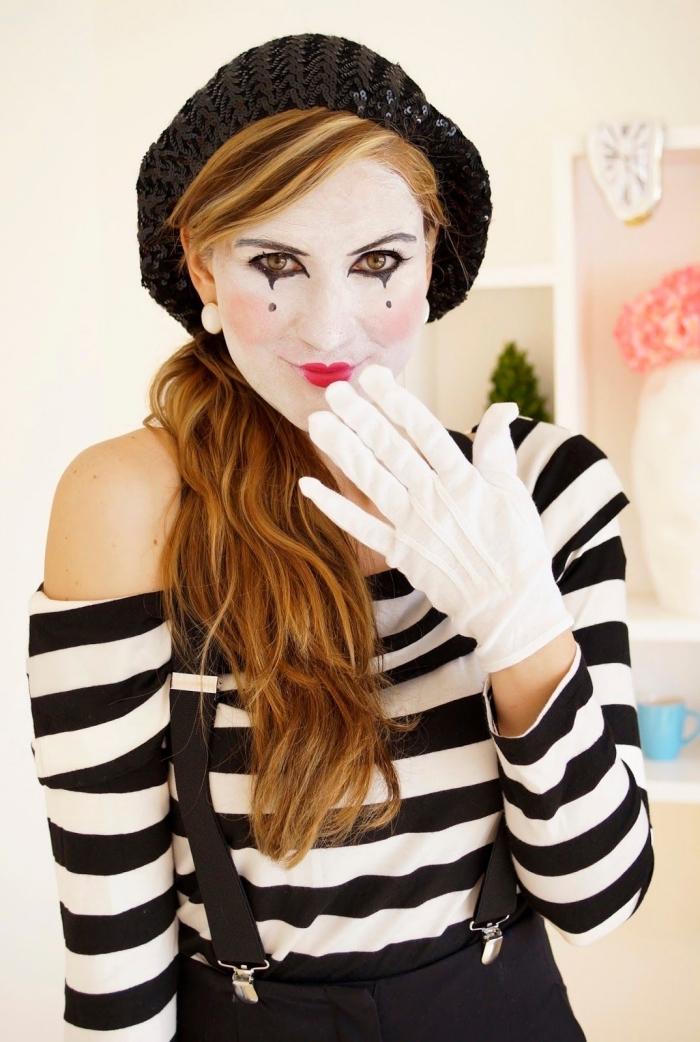 pantomime schminken, gestreifte bluse, schwarze hemdhose, mime make up, geflochtene mütze