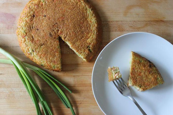 quinoa eiweiß rezept ideen, torte eier kuchen salzig mit grünem zwiebel