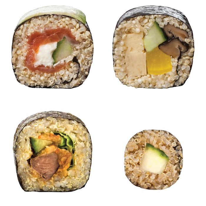 was ist quinoa sushi, hier vier varianten mit quinoa anstelle von reis, avocado, lachs, gurken