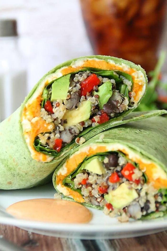 quinoa salat chefkoch rezept idee, grüne tortillas mit quinoa und gemüse