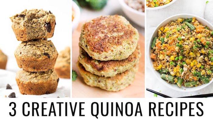 drei kreative quinoa rezepte, muffins, frikadellen, salat rezept mit petersilie und erbsen