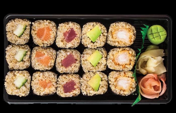 sushi rezept quinoa, kreative speisen für menschen, die kein reis essen dürfen, ingwer, wasabi