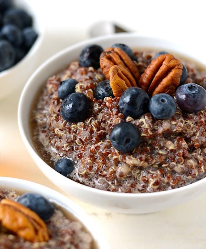 rezept quinoa, blaubeeren, walnüsse, quinoa rezept ideen, leckere ideen zum kochen