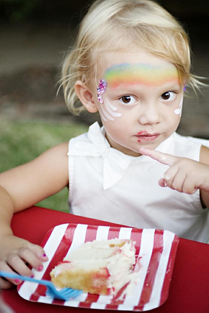 ein Regenbogen an dem Schirn, weiße Linien um die Augen, ein weißes Kleidchen, Halloween Schminktipps