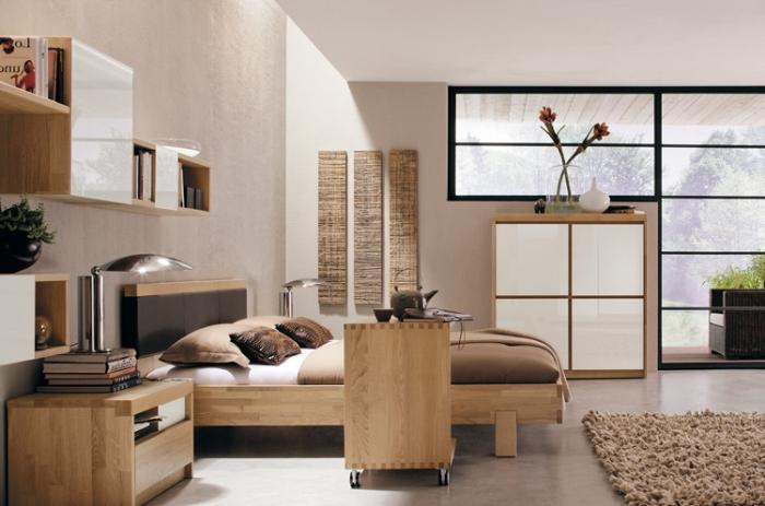möbel set aus holz, schlafzimmer gestaltungsideen, kleine räume einrichten, flauschiger teppich
