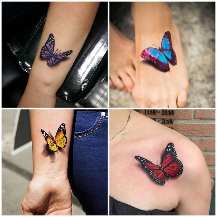 schmetterling tattoo 3d, kleine motive für frauen, farbige tätowierungen
