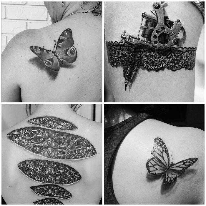 schmetterling tattoo 3d, schwarz graue tätowierungen, schwarze spitze mit tätowiermaschine, maschinenteilen