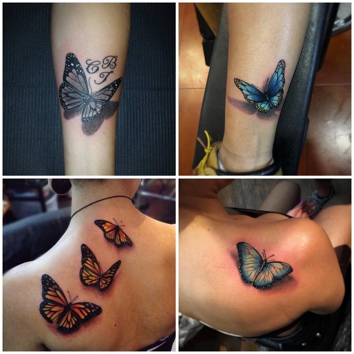 schmettelring tattoo 3d in kombiantion mit buchstaben, farbige tätowierungen am rücken und bein