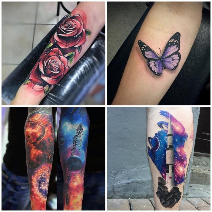schmetterling tattoo 3d, rote rosen, kosmos, planeten, farbige tätowierungen, collage