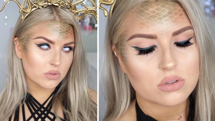 einfaches make up, schminken halloween, tisch schuppen, schwarzer lidstrich, großer goldener kopfschmuck