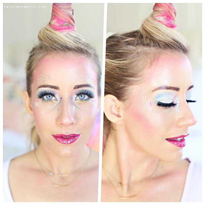 einhorn make up selber machen, schminken halloween, blauer lidschatten, rosa lippenstift