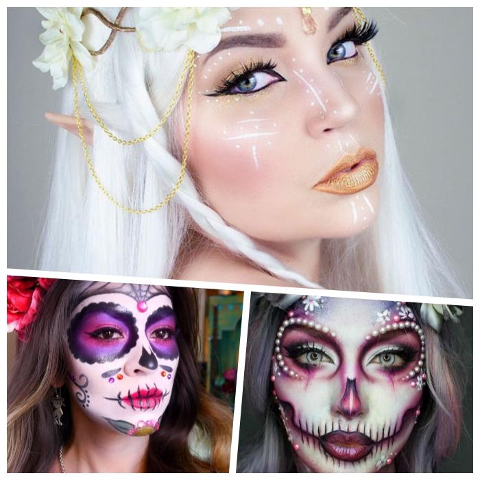 silberne haare, elfe make up, schminken halloween, goldener lippenstift, mexikanischer totenkopf