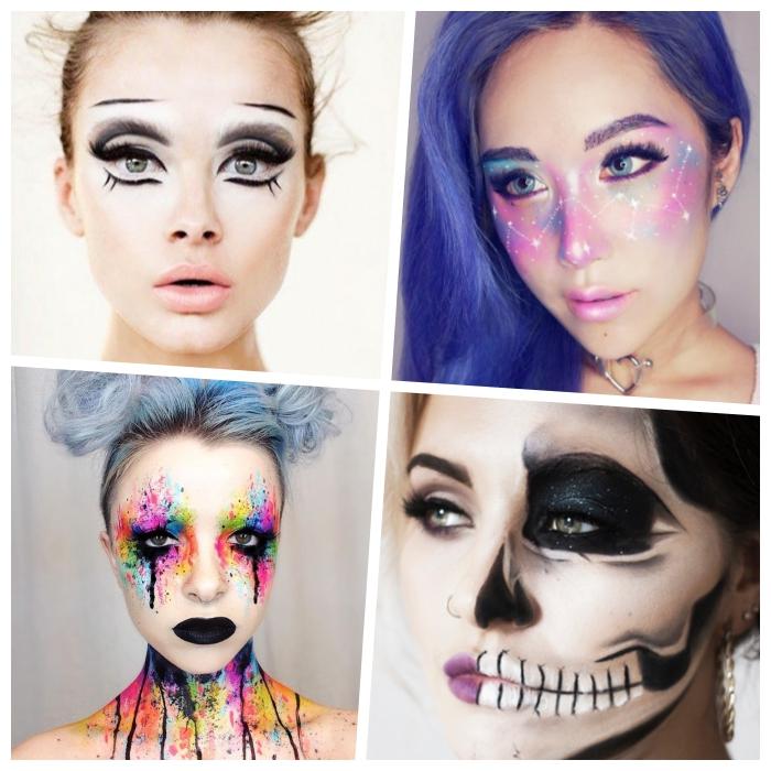 schminken halloween, augen größer schminken, lila haare, halber totenkopf, sternbilder