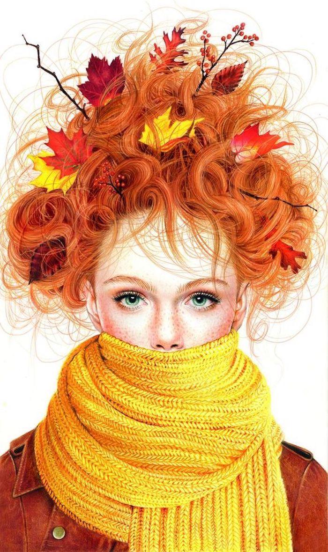 Frau mit Herbstblättern im Haar, naturrote Haare und blaue Augen, gelber Schal und braune Jacke