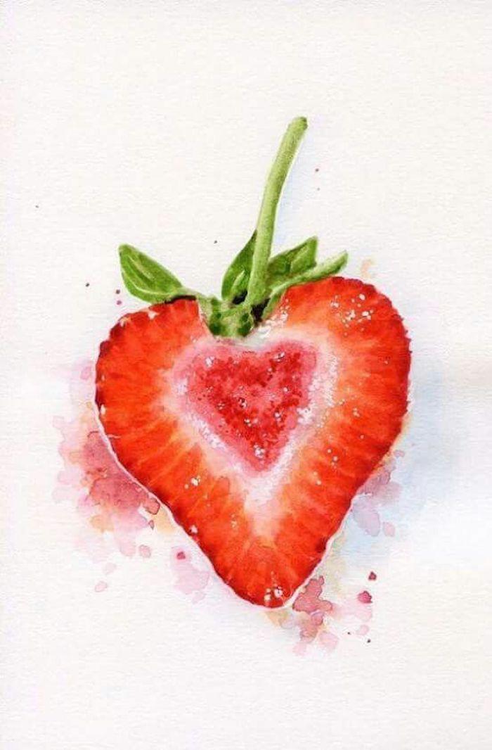 Eine halbierte Erdbeere zeichnen mit Aquarellfarben, herzförmige Erdbeere, schönes Bild zum Nachmalen