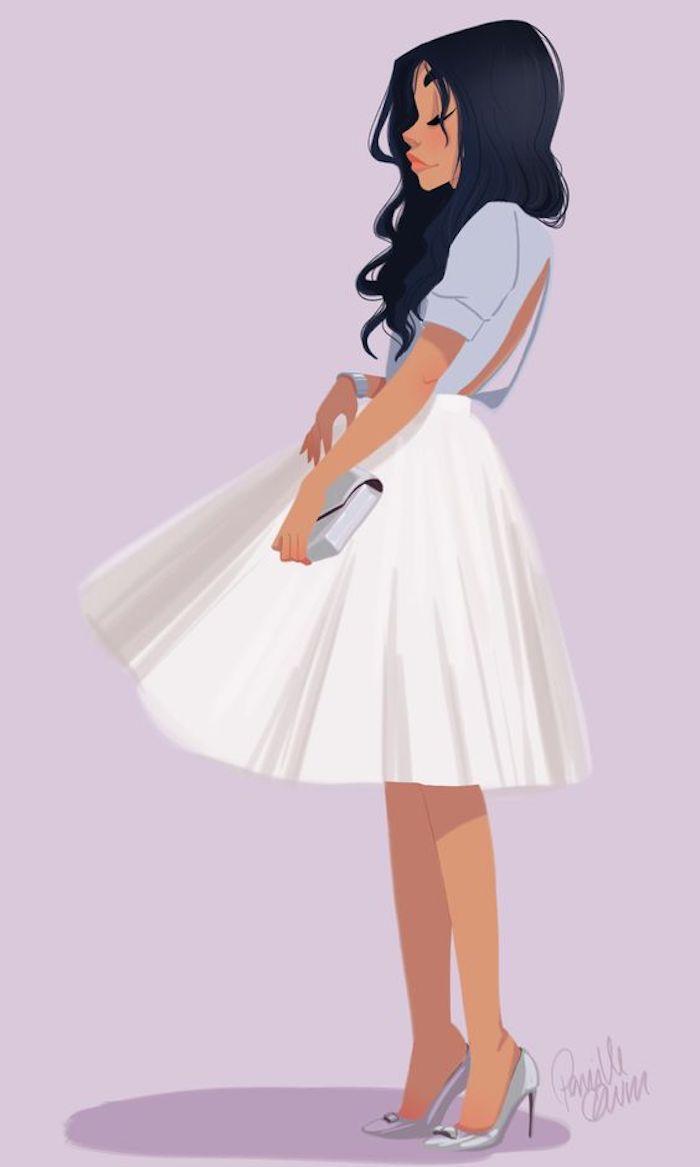 Schönes Bild zum Nachzeichnen, Frau mit weitem weißem Rock und blauem Hemd, mit schwarzen langen Haare