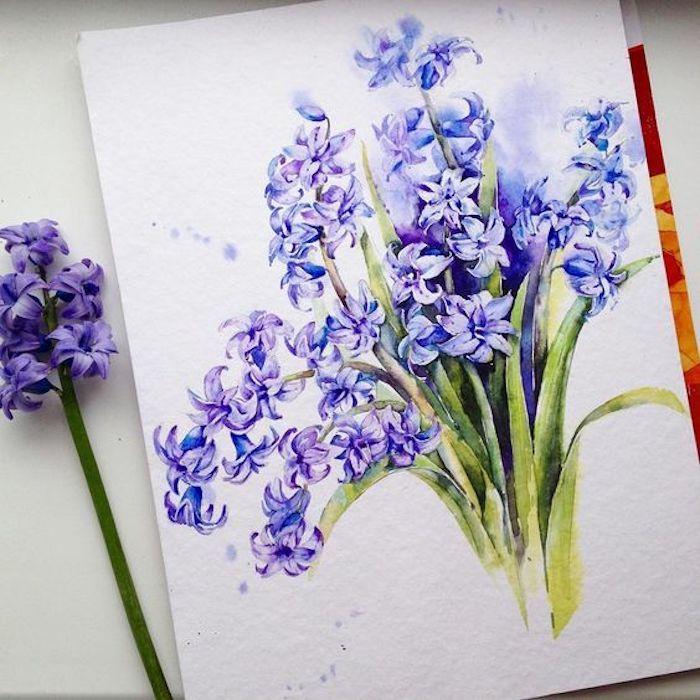 Hyazinthe zeichnen mit Aquarellfarben, Blumenstrauß malen, schönes Bild zum Nachmalen