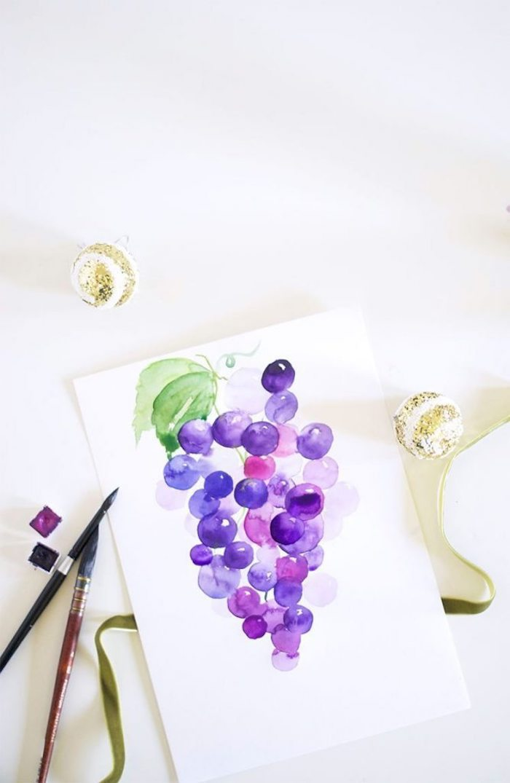 Wie zeichnet man Trauben, Früchte zeichnen lernen mit Aquarellfarben, schöne Bilder zum Nachzeichnen