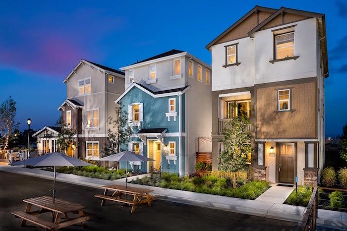 stadtvilla mit garage, moderne ideen, viele häuser auf der straße, dekor und design ideen extreieur design