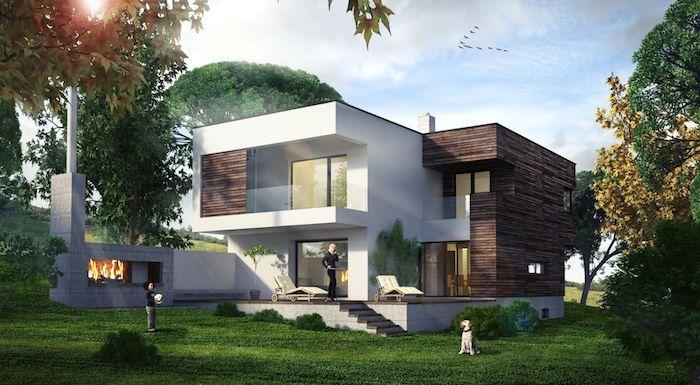 massivhaus bauen preise und ideen zum gestalten, schönes haus in zwei farben weiß und dunkelbraun