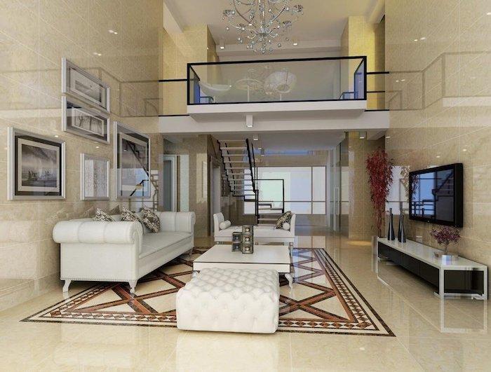moderne häuser innen design und gestaltung, weiß und creme farbe dekor, weißes sofa