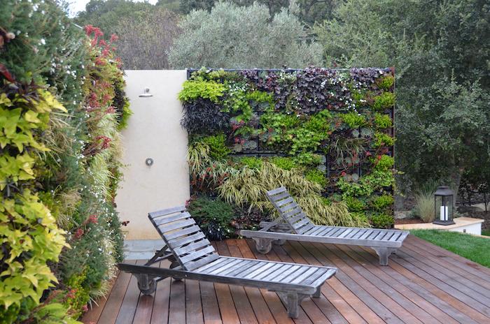 zwei graue liegestühle aus holz im garten mit grünen sichtschutz mit grünen blättern, sichtschutz balkon