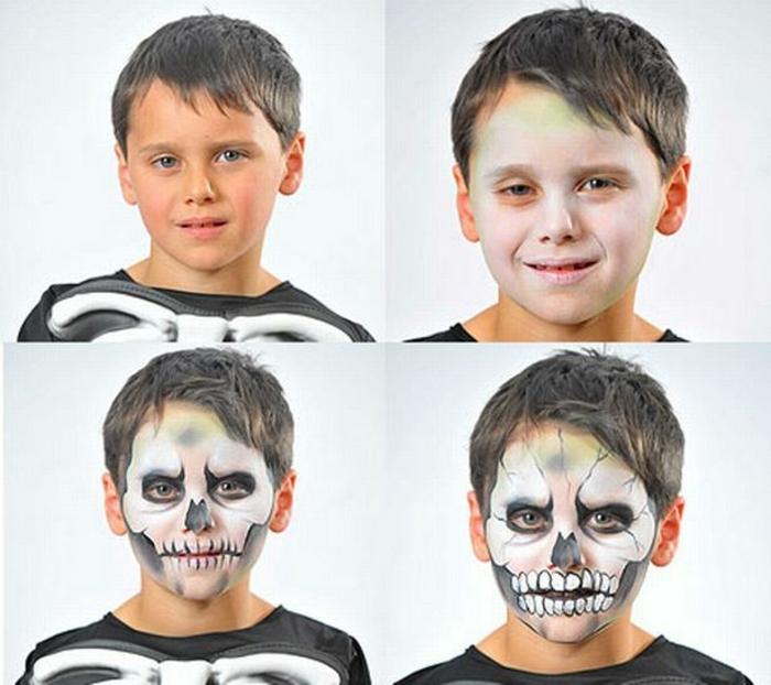 ein Junge wie Skelett schminken, gruselige Schminken zu Halloween in vier Schritten