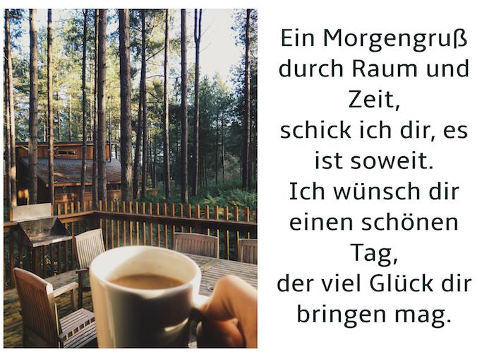 haus mit einer großen terrasse aus holz und braunen stühlen, hand mit eine rgroßen weißen tasse mit kaffee, wald mit vielen bäumen mit grünen blättern