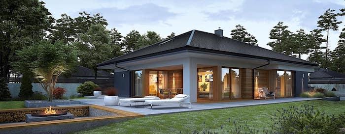 moderne häuser bauen und das leben auf dem lande genießen, haus mit kamin im garten