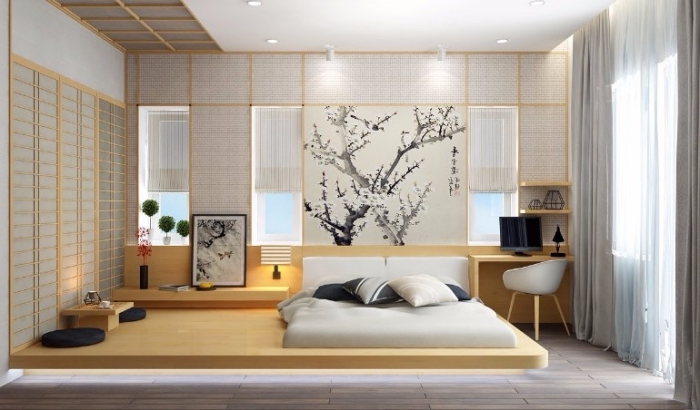 studentenzimmer einrichten, schlafzimmer in asiatischem stil, großes bett, kitschenbaum zweige